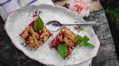 Zdravi kolač sa rabarbarom i malinama