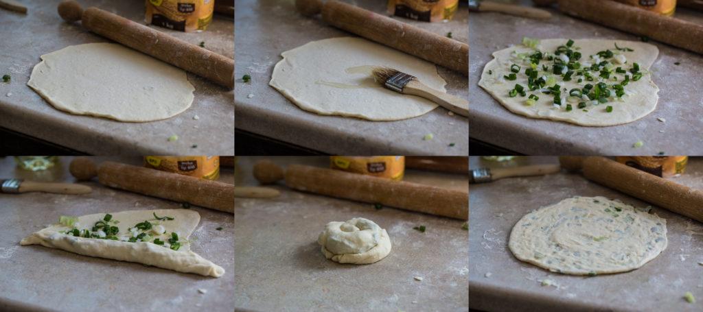 kolaž pripreme kineskih palačinki