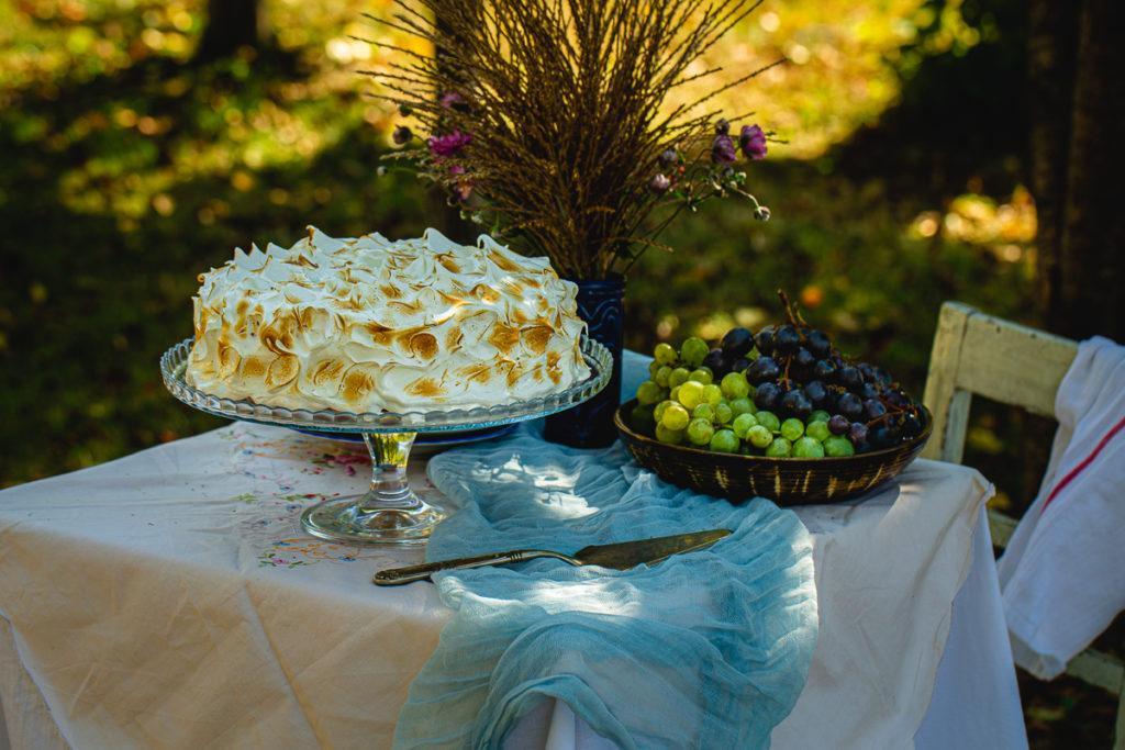 torta sa malinama u voćnjaku