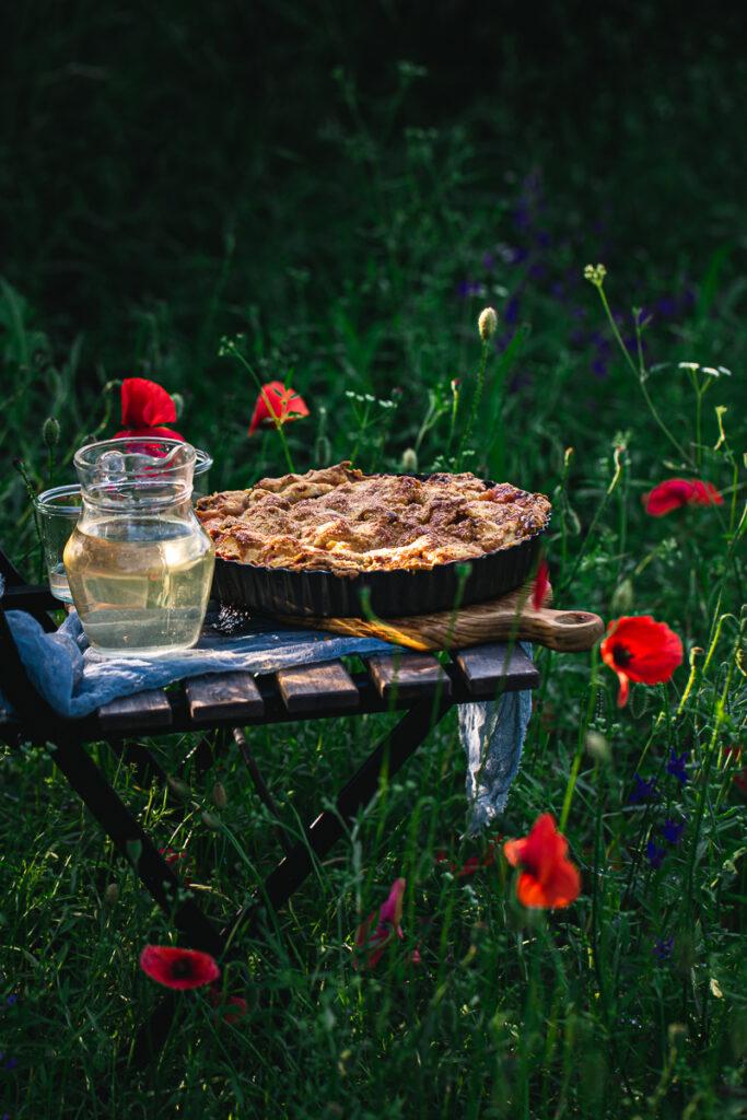 Pie in poppies field
