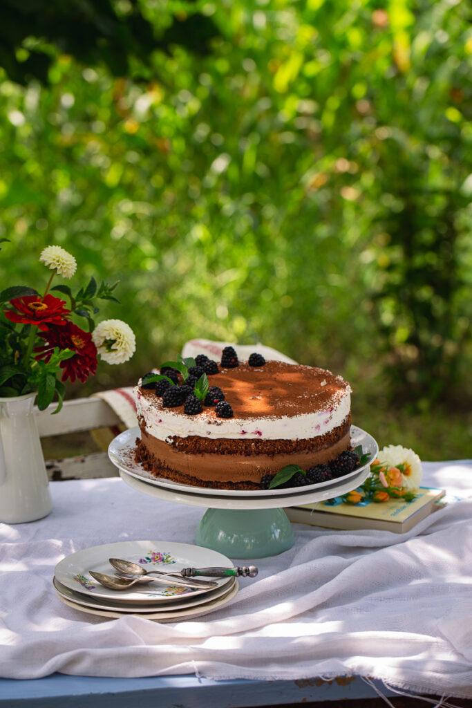 Mus torta sa malinama i dve vrste čokolade